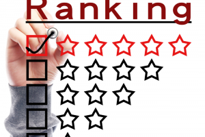 A hand is getting ready to place a checkmark in the top row wtih 5 stars, the other rows have 4, 3, 2, and 1 respectively.