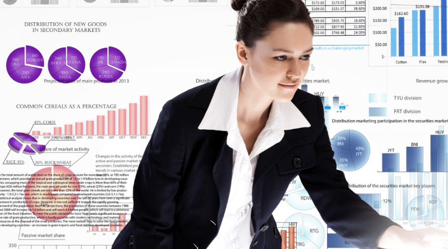 How to monitor our analytics with Rank Math shows a young lady looking out over a whole bunch of analytical data